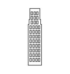 Silhouette of building skyscraper icon vector