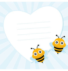 Two flying bees and heart shape vector image vector image