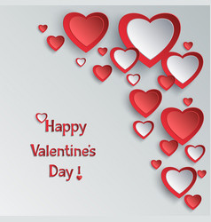 Valentines day background with 3d paper hearts vector