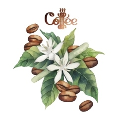 Watercolor coffee vignette vector