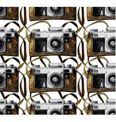 Watercolor vintage camera pattern vector
