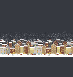 winter christmas landscape with fairy tale houses vector image