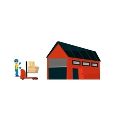 Worker Driving Forklift Machine Into Warehouse vector image