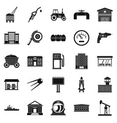 Workers in the factory icons set simple style vector