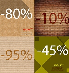 10 95 45 icon set of percent discount on abstract vector
