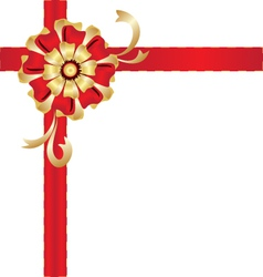 Christmas red and gold gift bow vector