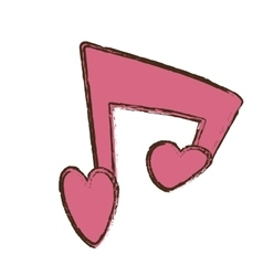 Pink love heart note musical valentine day vector