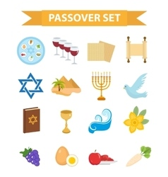 Passover icons set flat cartoon style Jewish vector image