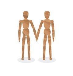 wooden mannequin-couple vector image