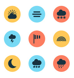 climate icons set collection of snowy sun-cloud vector image