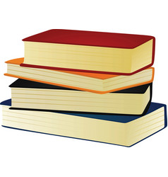 Four closed books on the white background vector