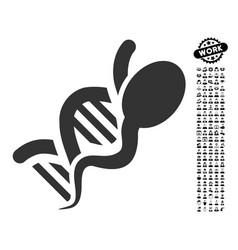 Sperm genome icon with work bonus vector
