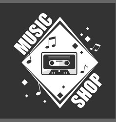 Music shop promotional logotype with retro vector