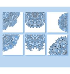 Collection of blue colour decorative floral vector