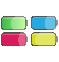 Multicolor glossy batteries vector