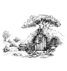 A dwarf house in the woods sketch vector