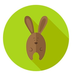 Easter bunny circle icon with long shadow vector