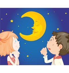 Kids at night with moon vector image
