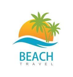 beach travel logo vector image