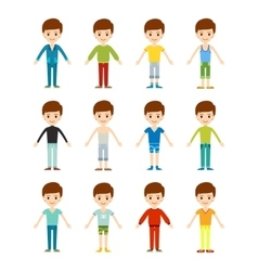 Beautiful cartoon fashion boy set vector