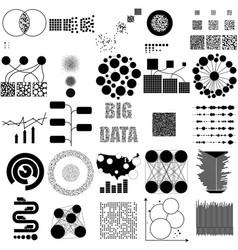 big data set black icon on white vector image vector image