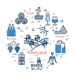 blue round vineyard concept vector image vector image