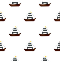 Boat with sails pattern flat vector