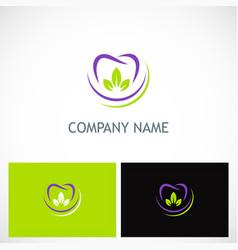 Dent tooth organic logo vector