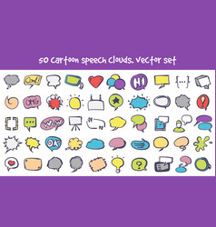 doodle speech clouds icons set vector image vector image