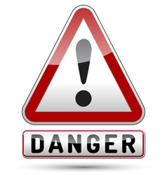Exclamation mark danger triangle vector image vector image