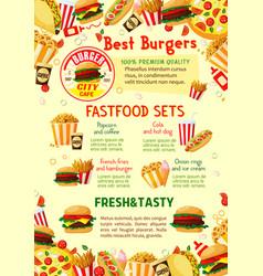 fast food restaurant menu poster vector image