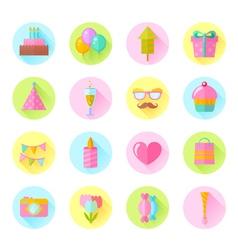 Festive birthday flat icons set vector image vector image