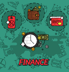 Finance flat concept icons vector