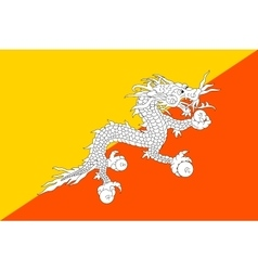 Flag of bhutan in correct size and colors vector