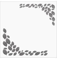 Frame for a card dotwork stipple gray leaves vector