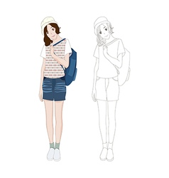 Girl denim fashion asian color no 3 vector