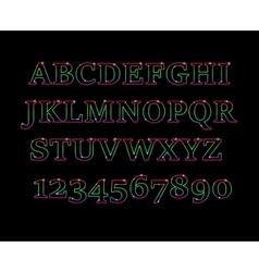 Glowing cosmic neon font vector image