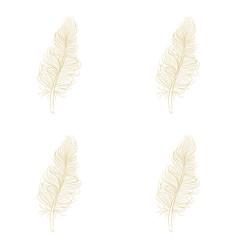 Golden feather decor seamless pattern vector