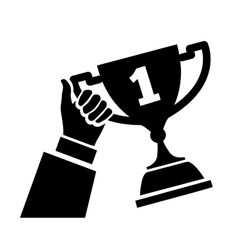 Hand holding trophy vector