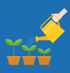 hand holding watering can watering plant in pot vector image vector image