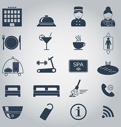 Hotel services icons Silhouette Isolated vector image vector image