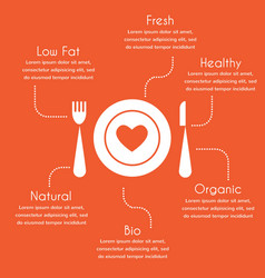 infographics of organic and healthy food vector image vector image