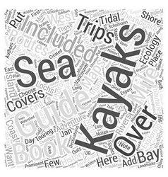International sea kayaking guide books word cloud vector