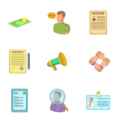 Job contract icons set cartoon style vector image