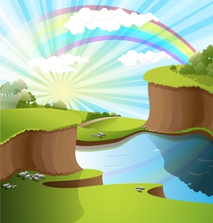 landscape rainbow vector image vector image