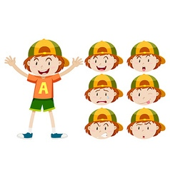 Little boy with different facial expressions vector image vector image