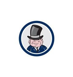 Man wearing top hat smiling circle cartoon vector