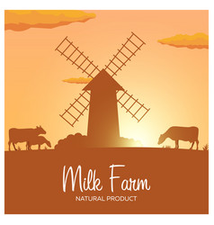 Milk farm natural product rural landscape with vector
