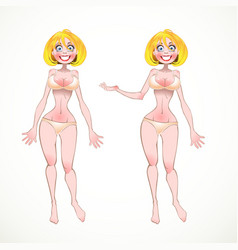 Nude blond on peachy underwear in two poses of vector