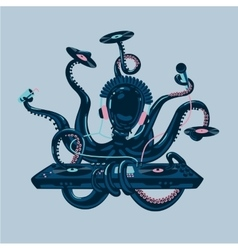 Octopus dj with vinyl disc and turntable Live vector image
